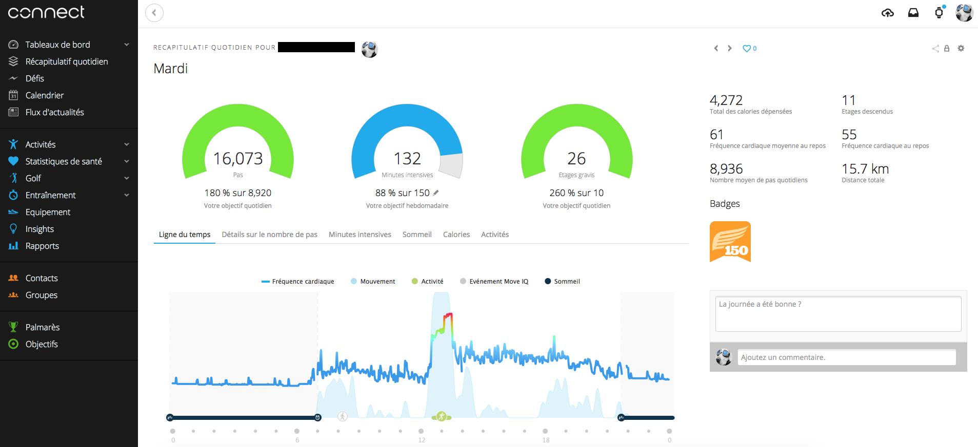 Le suivi depuis le site Garmin Connect