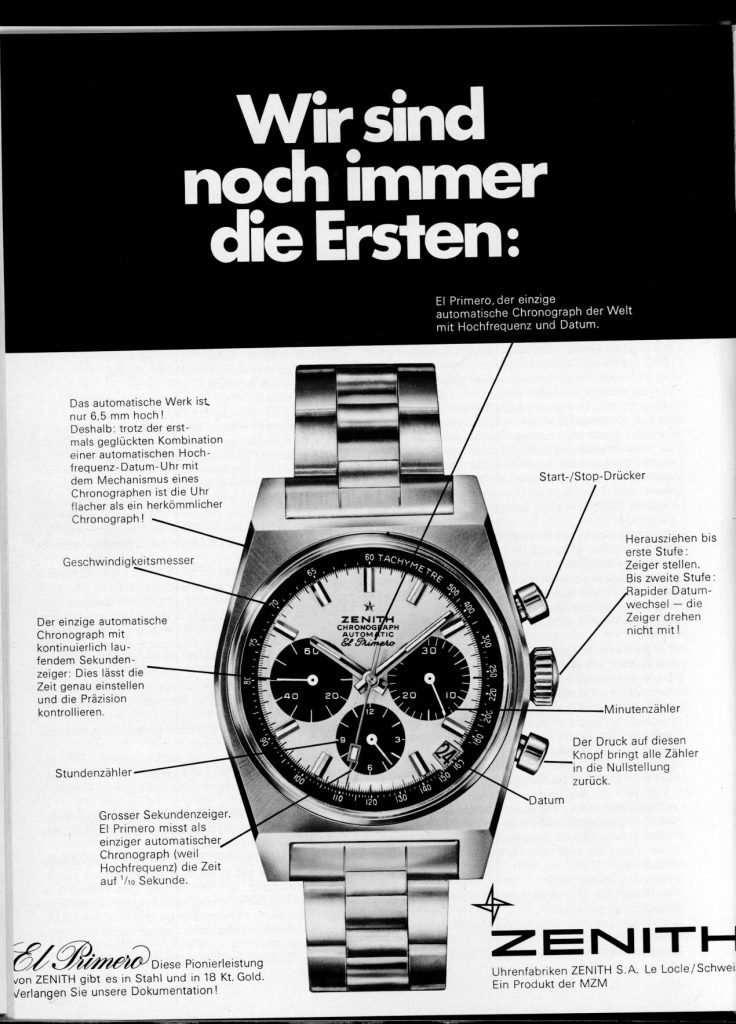 """Zenith """"El Primero"""", premier chronographe automatique à haute fréquence"""