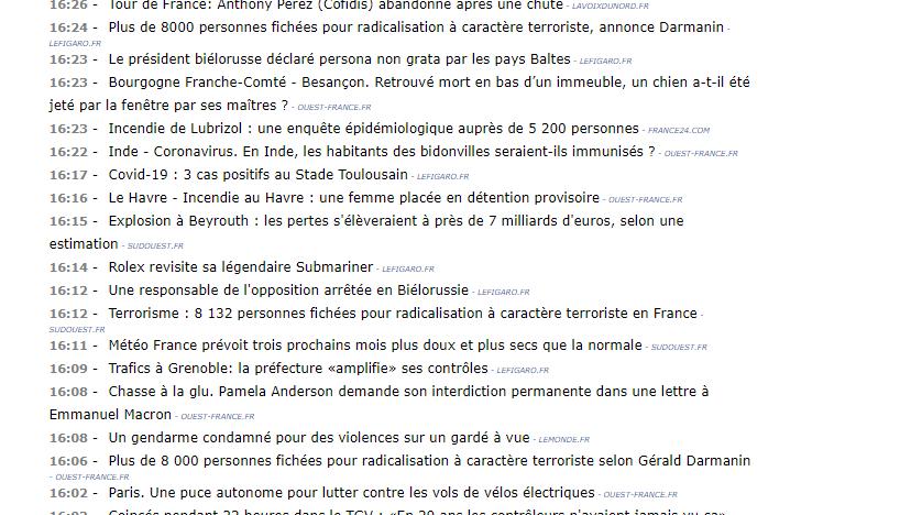 Publication d'une annonce concernant un article du Figaro à 16h14